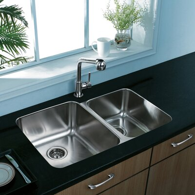 32 inch Undermount 60/40 Double Bowl 18 Gauge Stainless Steel Kitchen Sink Bowl Configuration: Left, With Grids and Strainers: Yes