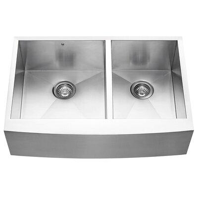 Alma 33 inch Farmhouse Apron 60/40 Double Bowl 16 Gauge Stainless Steel Kitchen Sink