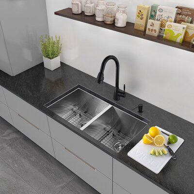 Alma 32 inch Undermount 50/50 Double Bowl 16 Gauge Stainless Steel Kitchen Sink With Grids and Strainers: Yes