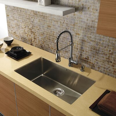 Alma 30 inch Undermount Single Bowl 16 Gauge Stainless Steel Kitchen Sink With Grid and Strainer: No