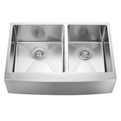 Alma 33 inch Farmhouse Apron 60/40 Double Bowl 16 Gauge Stainless Steel Kitchen Sink