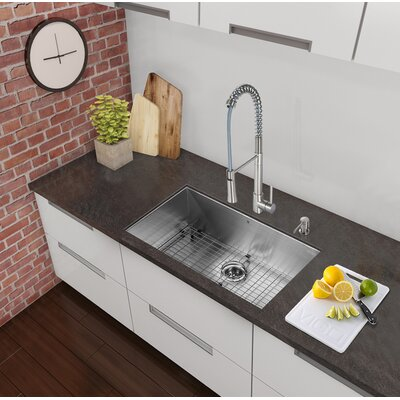 32 x 19 Undermount Single Bowl 16 Gauge Stainless Steel Kitchen Sink with Faucet