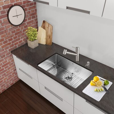 "30"" x 19"" Undermount Single Bowl 16 Gauge Stainless Steel Kitchen Sink with Faucet VG15439"