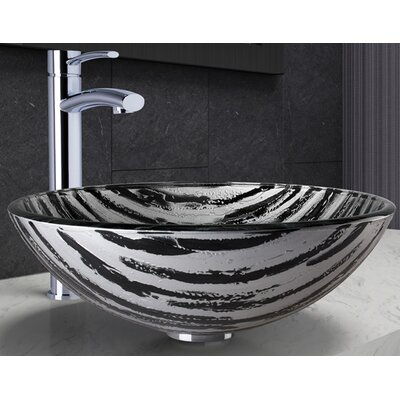 Rising Moon Glass Circular Vessel Bathroom Sink with Faucet
