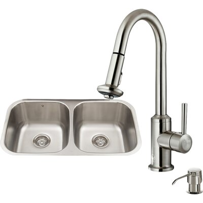 32 inch Undermount 50/50 Double Bowl 18 Gauge Stainless Steel Kitchen Sink with Astor Stainless Steel Faucet, Two Grids, Two Strainers and Soap Dispenser