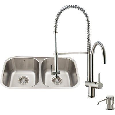 32 inch Undermount 50/50 Double Bowl 18 Gauge Stainless Steel Kitchen Sink with Dresden Stainless Steel Faucet, Two Grids, Two Strainers and Soap Dispenser