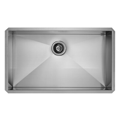 30 inch Undermount Single Bowl 16 Gauge Stainless Steel Kitchen Sink with Dresden Chrome Faucet, Grid, Strainer and Soap Dispenser