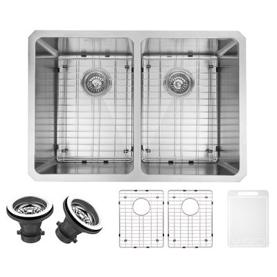 Alma 29 inch Undermount 50/50 Double Bowl 16 Gauge Stainless Steel Kitchen Sink with Two Grids and Two Strainers