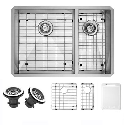 Alma 29 inch Undermount 75/25 Double Bowl 16 Gauge Stainless Steel Kitchen Sink