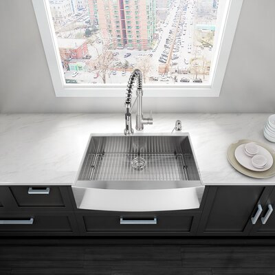 Alma 30 x 22.5 Farmhouse Apron Single Bowl 16 Gauge Stainless Steel Kitchen Sink With Grid: Yes