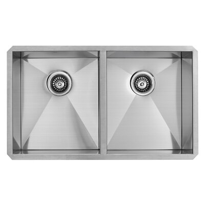 32 inch Undermount 50/50 Double Bowl 16 Gauge Stainless Steel Kitchen Sink with Edison Chrome Faucet, Two Grids, Two Strainers and Soap Dispenser