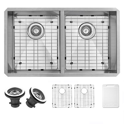 Alma 32 inch Undermount 50/50 Double Bowl 16 Gauge Stainless Steel Kitchen Sink