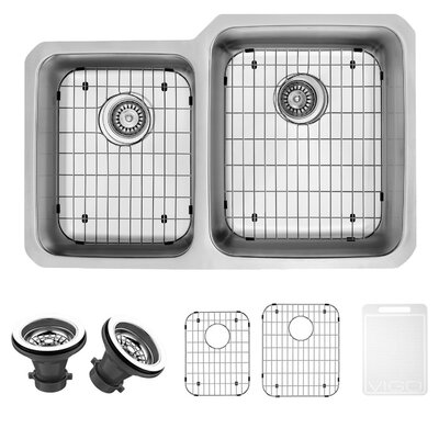 32 inch Undermount 60/40 Double Bowl 18 Gauge Stainless Steel Kitchen Sink Bowl Configuration: Right, With Grids and Strainers: Yes