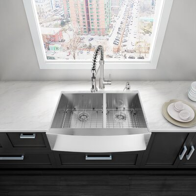 Alma 36 inch Farmhouse Apron 60/40 Double Bowl 16 Gauge Stainless Steel Kitchen Sink With Grids and Strainers: Yes