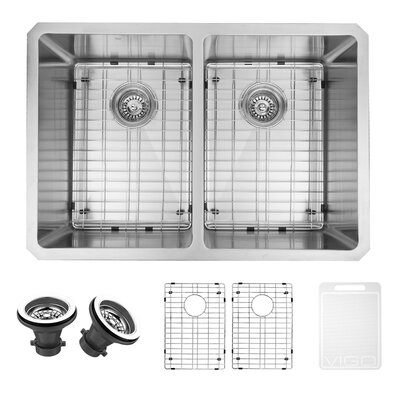 29 inch Undermount 50/50 Double Bowl 16 Gauge Stainless Steel Kitchen Sink