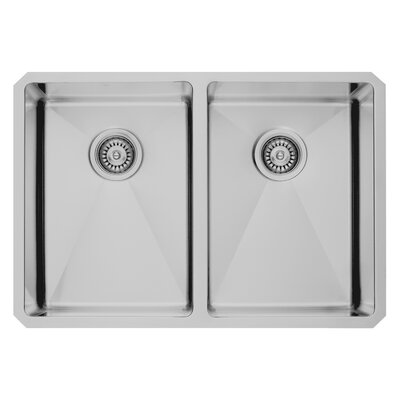 29 inch Undermount 50/50 Double Bowl 16 Gauge Stainless Steel Kitchen Sink with Aylesbury Stainless Steel Faucet, Two Grids, Two Strainers and Soap Dispenser