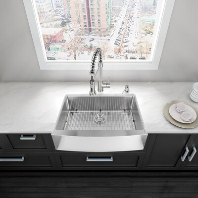 Alma 30 inch Farmhouse Apron Single Bowl 16 Gauge Stainless Steel Kitchen Sink with Grid and Strainer