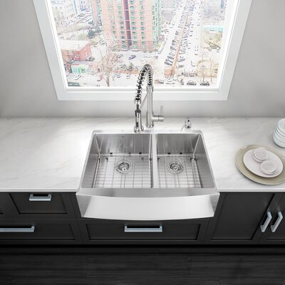 Alma 33 inch Farmhouse Apron 60/40 Double Bowl 16 Gauge Stainless Steel Kitchen Sink With Grids and Strainers: Yes