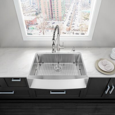 Alma 33 inch Farmhouse Apron Single Bowl 16 Gauge Stainless Steel Kitchen Sink With Grid and Strainer: Yes