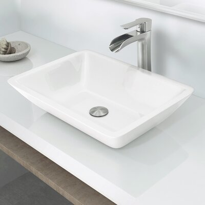 Flat Edged Phoenix Stone Rectangular Vessel Bathroom Sink