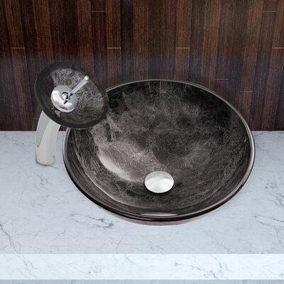 Gray Onyx Glass Circular Vessel Bathroom Sink Faucet Finish: Chrome