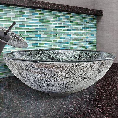 Glass Circular Vessel Bathroom Sink Finish: Titanium