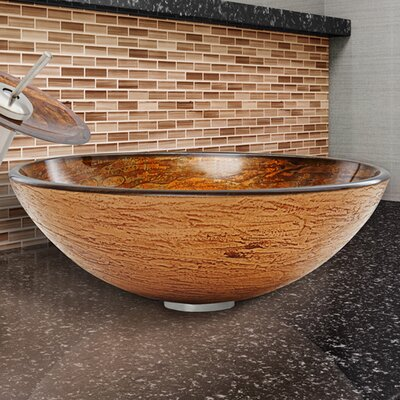 Glass Circular Vessel Bathroom Sink Finish: Cappuccino Swirl