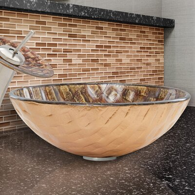 Glass Circular Vessel Bathroom Sink Finish: Playa