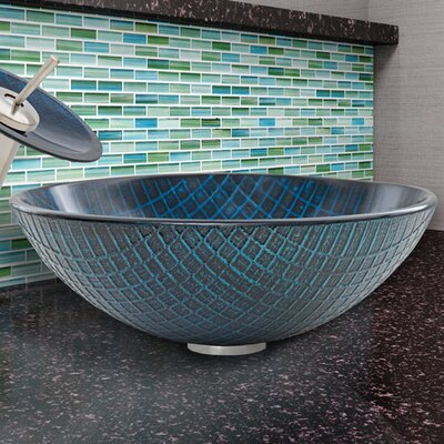 Glass Circular Vessel Bathroom Sink Finish: Blue Matrix