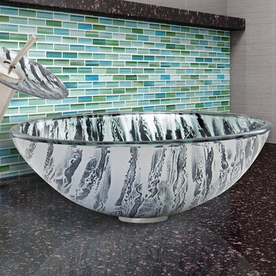 Glass Circular Vessel Bathroom Sink Finish: Rising Moon