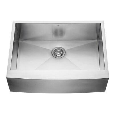 Alma 30 x 22.5 Farmhouse Apron Single Bowl 16 Gauge Stainless Steel Kitchen Sink With Grid: No