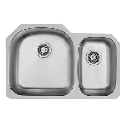 31 inch Undermount 70/30 Double Bowl 18 Gauge Stainless Steel Kitchen Sink