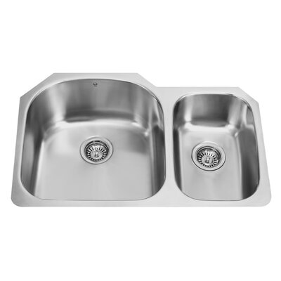 31 inch Undermount 70/30 Double Bowl 18 Gauge Stainless Steel Kitchen Sink Bowl Configuration: Left, With Grids and Strainers: No