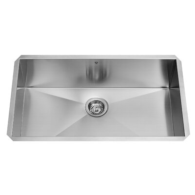 Alma 32 inch Undermount Single Bowl 16 Gauge Stainless Steel Kitchen Sink With Grid and Strainer: No