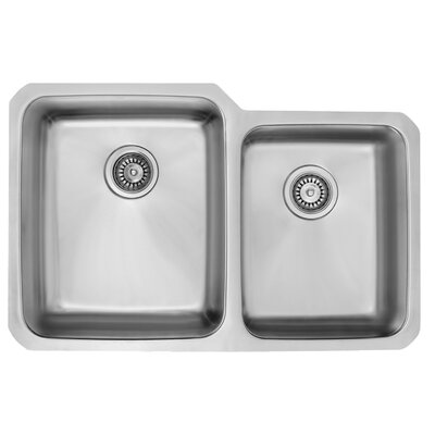32 inch Undermount 60/40 Double Bowl 18 Gauge Stainless Steel Kitchen Sink