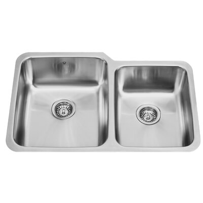 32 inch Undermount 60/40 Double Bowl 18 Gauge Stainless Steel Kitchen Sink Bowl Configuration: Left, With Grids and Strainers: No