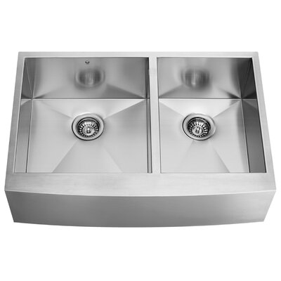 Alma 36 inch Farmhouse Apron 60/40 Double Bowl 16 Gauge Stainless Steel Kitchen Sink