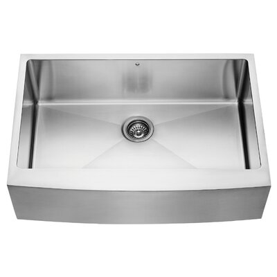 Alma 33 inch Farmhouse Apron Single Bowl 16 Gauge Stainless Steel Kitchen Sink With Grid and Strainer: No