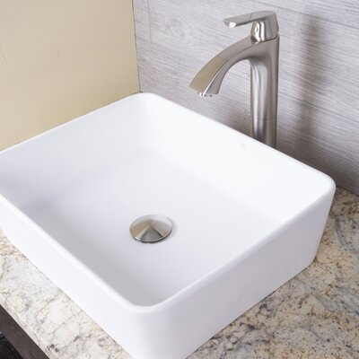 Marigold Stone Rectangular Vessel Bathroom Sink