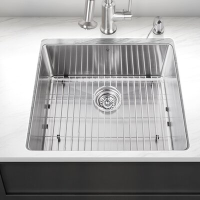 Stainless Steel Single Bowl 23 x 20 Undermount Kitchen Sink With Grid and Strainer: Yes