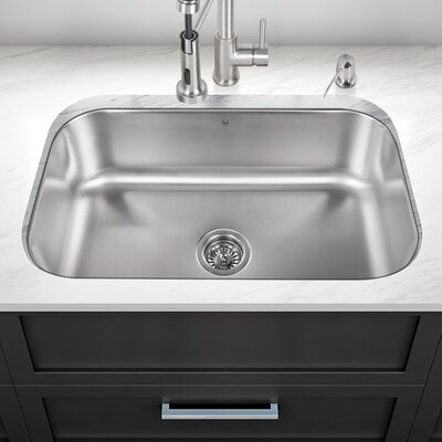 30 inch Undermount Single Bowl 18 Gauge Stainless Steel Kitchen Sink With Grid and Strainer: No