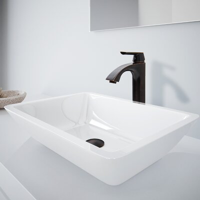 Medium Flat Edged Phoenix Stone Rectangular Vessel Bathroom Sink with Faucet