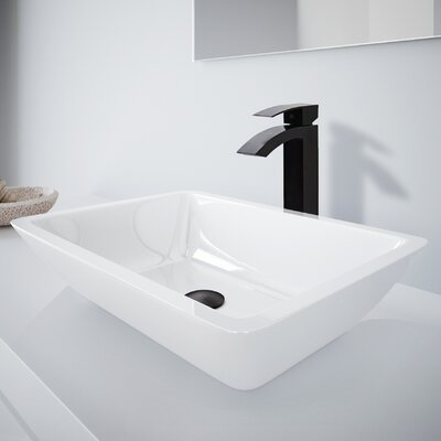 Medium Flat Edged Phoenix Stone Rectangular Vessel Bathroom Sink