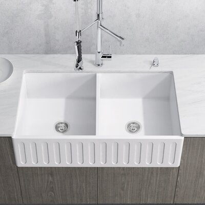 Matte Stone Double Bowl 33 x 18 Farmhouse Kitchen Sink