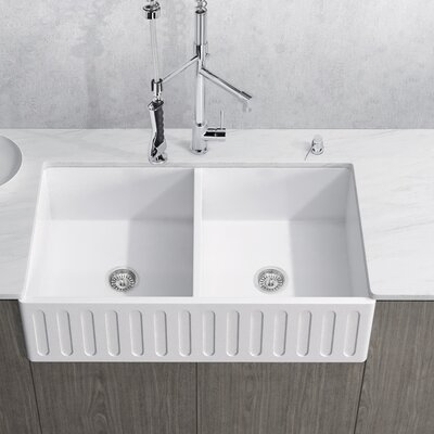 Matte Stone Double Bowl 36 x 18 Farmhouse Kitchen Sink