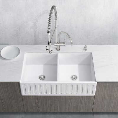Dresden Stone 33 x 18 Double Bowl Farmhouse Kitchen Sink with Faucet