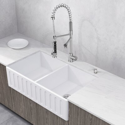 Zurich Stone 33 x 18 Double Bowl Farmhouse Kitchen Sink with Faucet