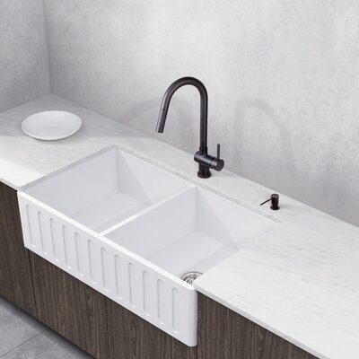 Gramercy Stone 33 x 18 Double Bowl Farmhouse Kitchen Sink with Faucet
