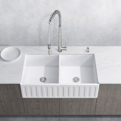 Laurelton Stone 33 x 18 Double Bowl Farmhouse Kitchen Sink with Faucet