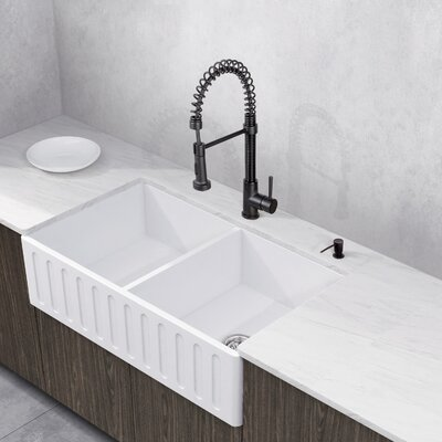 Edison Stone 36 x 18 Double Bowl Farmhouse Kitchen Sink with Faucet Faucet Finish: Matte Black